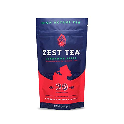 Zest Tea Energy Hot Tea, High Caffeine Blend Natural & Healthy Coffee Substitute, Perfect for Keto, 20 servings (150mg Caffeine each), Compostable Teabags (No Plastic), Cinnamon Apple Black Tea