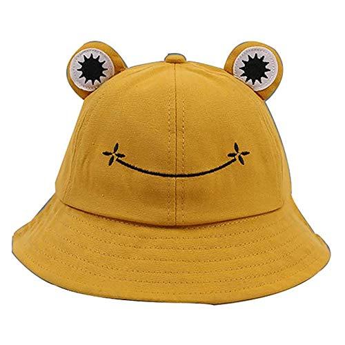 Bebé Sombrero de Pescador niño niña Verano Moda Bordado Rana lindaSombrero Animal Print Unisex Sombreros para el Sol Plegable al Aire Libre Bucket Hat 53-55cm