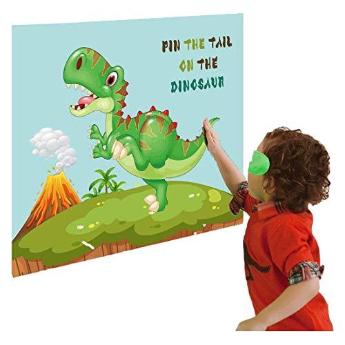 LIK Dinosaurier Party Spiel, Pin The Tail beim Dinosaurier Poster, Kinder Geburtstag Party Zubehör für Jungen Mädchen Erwachsene, 15 Stück Schwänzens+Poster Dinosaurier+Augenbinde