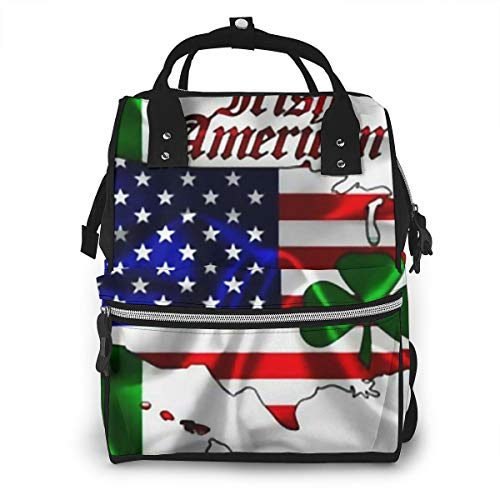 Irish Flag American Map Shamrock Baby Diaper Bag Backpack,Multi-Function Waterproof Large Capacity Travel Nappy Bags For Mom