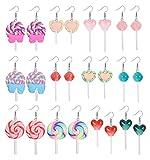 Ubjuliwa 12 Pairs Statement Cute Earrings Candy Lollipop Dangle Earring Colorful Cartoon Drop Rainbow Resin Food Earrings Set for Women