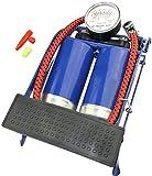 Aerzetix - Pompa a Pedale Doppio pistone con manometro 1900cm3 Pressione 3 Bar - Pompa Aria - Auto/Piscina Bambini/Materasso - attrezzo Pneumatico gonfiaggio con Pedale - Lunghezza Tubo 47cm - C46644