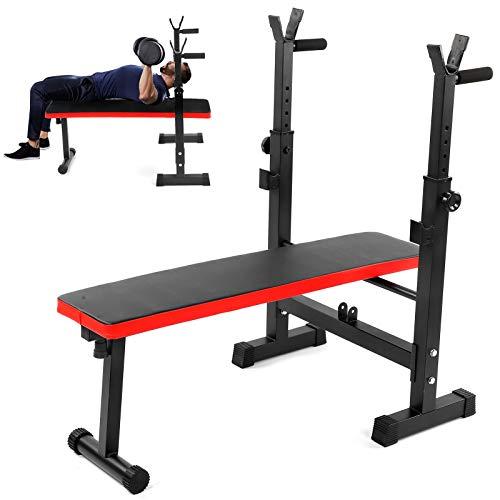 GOTOTOP Banco de Musculación Plegable con Soporte para Pesas, Carga 200kg, Banco de de Pesas Ajustable para Ejercicios de Gimnasio en casa