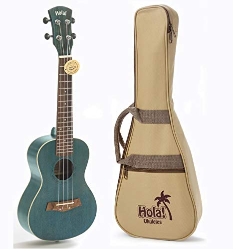 Concert Ukulele Bundle, Deluxe Series by Hola! Music (Model HM-124BU+), Bundle Includes: 24 Inch Mahogany Ukulele with Aquila Nylgut Strings Installed, Padded Gig Bag, Strap and Picks - Blue