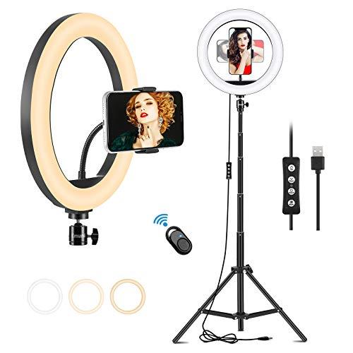 10' luce ad anello con supporto per treppiede e supporto per telefono, 3 colori e 10 livelli di luminosità per trucco, vlog, riunioni, live streaming, selfie, telecomando compatibile con iOS e Android
