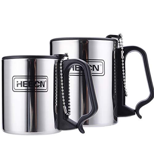 HEECN Camping Kaffee Becher Mit Deckel Karabinergriff HESS-033BBK 300ml Mit Drehbarem Trinkdeckel