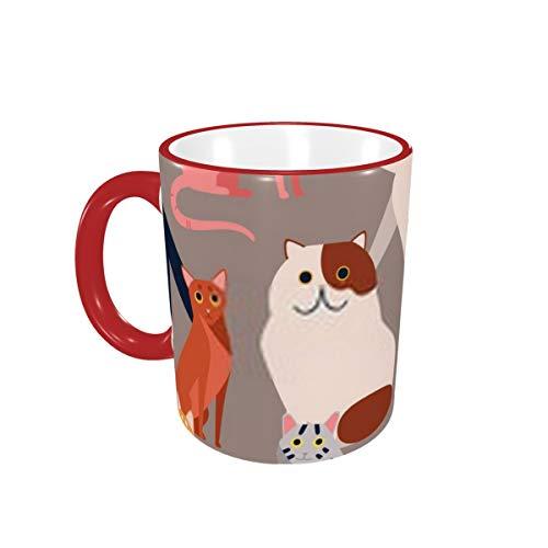 Coloreada con diferentes razas de gatos La taza decorativa plana creativa B de 11 oz es un regalo divertido para hombres y mujeres.