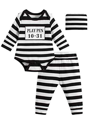 Paddy Field Baby Girls Boys Prisoner Costume Set (0-3 Months, Prisoner)