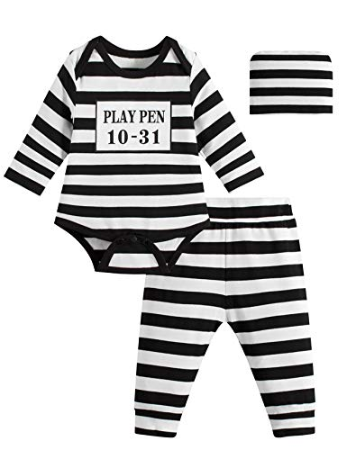 Paddy Field Baby Girls Boys Prisoner Costume Set (6-12 Months, Prisoner)