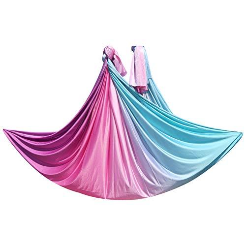 LBBL Juego Hamacas Yoga con Mosca Aérea, Cinturones Yoga Antigravedad 5 MX 2,5 M para El Trapecio Cama Columpio Aire para Ejercicio Hamaca Yoga para niños (Color : E, Size : 5 * 2.8m)