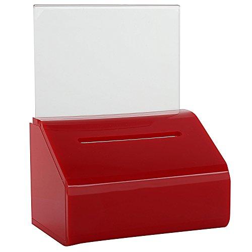 MCB- Piccola scatola trasparente per donazioni e votazioni, urna con serratura, piano inclinato e supporto per cartelli, contenitore di schede elettorali e biglietti Red