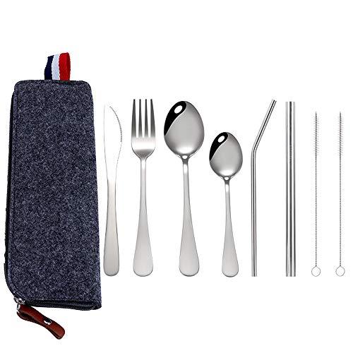Juego de Cubiertos Acero Inoxidable 9 Piezas Cubiertos para cámping Cuchillos, Tenedores,...