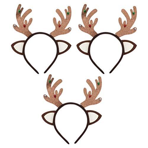 WMDHH 3pcs Christmas Headband ReinHeadband with Jingle Bells Christmas Party Favor Headband Headwear Headpiece