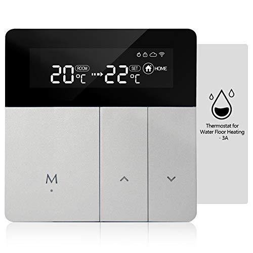 iolloi Termostato de WiFi 3A termostato de habitación, Digital Termostatos programable de habitación, Compatible con Alexa Echo/Google Home/Smart Life (Calefacción de Agua)