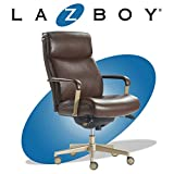 La-Z-Boy Melrose Executive Office, Adjustable High Back Ergonomic Computer Chair with Lumbar Support, Brass Finish, Brown Bonded Leather