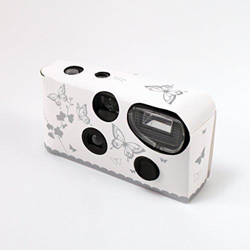 Einweg-Kamera Pack 10 Hochzeit mit Flash White mit Silver Butterfly