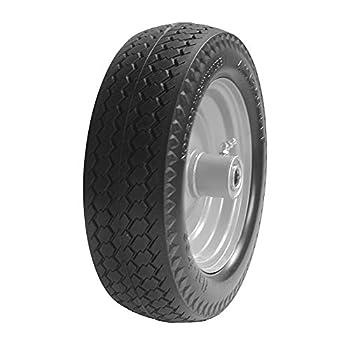 BAIVE BW 4.10/3.50-4  Solid Wheelbarrow Tire Non-Slip Flat Free Wheel with 2.25  Offset Hub 5/8  Bearings
