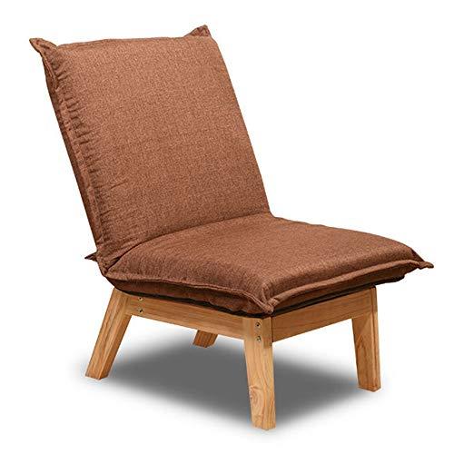 Schlafzimmer Faule Sofa Möbel Holz Grau Stoff Sessel Akzent Stühle Massivholzrahmen Lounge Chair Hohe Zurück Home Kleine Wohnung Wohnzimmer (Color : Brown, Size : 64 * 67 * 79cm)