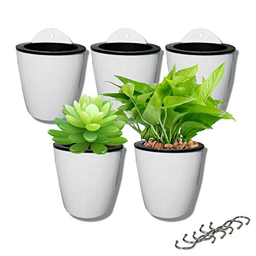 5 Pack Lazy Flower pots Water Hanging Plants Pot/Self Watering Planter,Succulent Plants and Small Flower pots Plants Pots Indoor Out Wall Hang Flowerpot Window Boxes with 5 Hooks Silver (White)