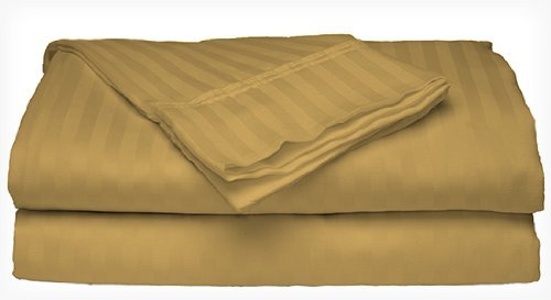 Crystal Trading 4-Piece Bed Sheet Set - Dobby Stripe - Microfiber - (Twin, Gold)