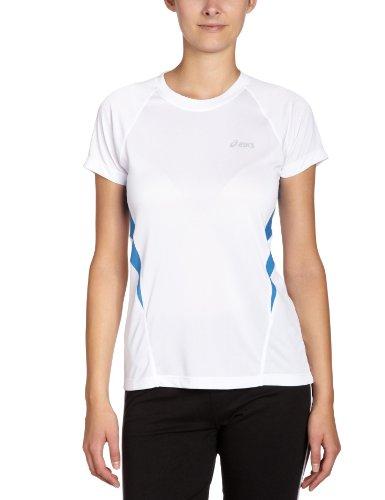 ASICS Vesta Crew T-Shirt de Course à Manches Courtes pour Femme S White/French Blue