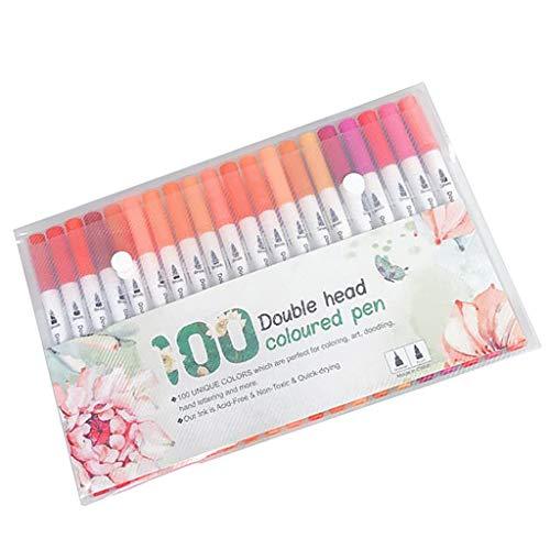 MagiDeal Bolígrafos de Pincel de Doble Punta de 100 Colores Delineador Fino de Plástico Que Hace La Pluma Más Ligera