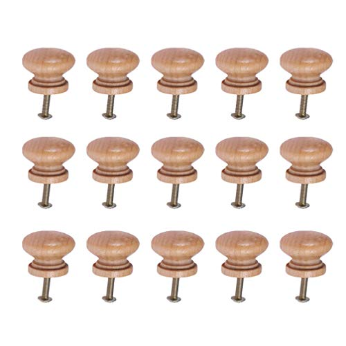 Supvox 15pcs Möbelknopf Holz Pilzknöpfe Möbelgriffe mit Schraube Türfachschrank Griffknöpfe für Küche Möbel Büro Dekoration (L)