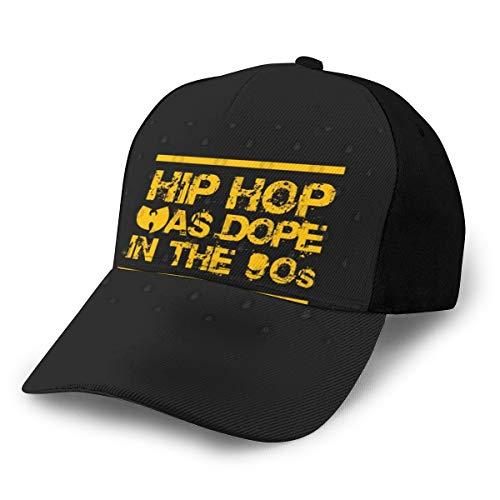 Gorra de béisbol Ajustable, Color Negro con diseño de Hip-Hop Was Dope in The 90s