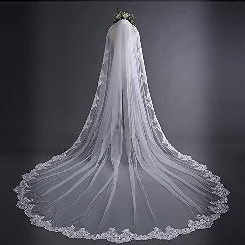 ZYQDRZ 3M Schleier Einfacher Europäischer Und Amerikanischer Langer Schwanz Hochzeitsschleier High-End-Spitze Hochzeitsschleier Hochzeitskleid,Weiß