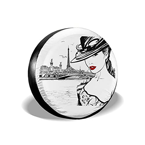Hand Drawn Girl Makeup River Universal Spare Tire Cover Weatherproof Wheel Protectors for SUV Truck Jeep 15 Inch