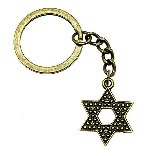 TAOZIAA Schlüsselanhänger Davidstern süße Geschenke für Männer Herzlichen Glückwunsch zum Geburtstag 28x20mm Anhänger Antik Bronze