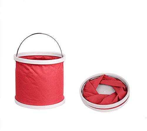 XFAY Falteimer 9 Liter , Rote , bewegliches faltbares Waschbecken Wassereimer für kampierende wandernde Fischen