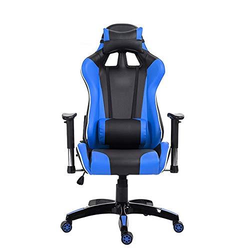 Sillas Gaming Internet Cafe Silla de la computadora se Puede reclinar y Ajustado comodo de la PU del Cuero del Asiento del Juego A Custom (Color : Blue, Size