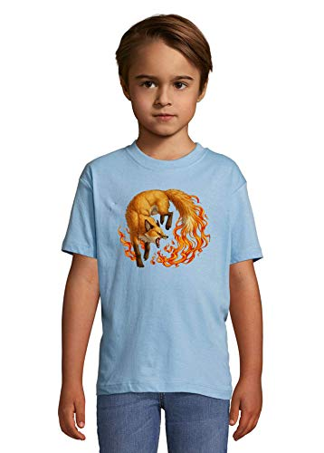 Flaming Fox Nature Animal Art Heaven Kids Colorful T-Shirt 6 Year Old (106/116cm)