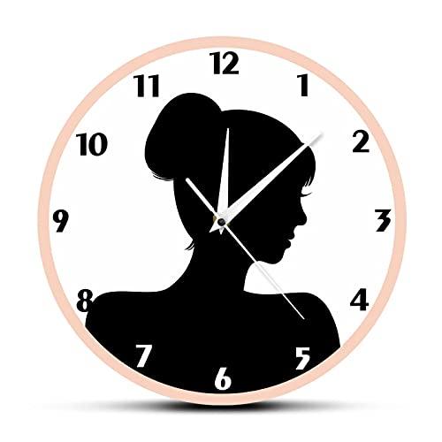 hufeng Reloj de Pared Retro Mujer Cabeza Silueta Movimiento silencioso Acrílico Reloj Colgante de Pared Old Fashioned Lady Girls Room Romance Decoración de Pared Reloj