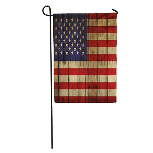 Zome Lag Garten Flagge,Garten Fahne Vertikal,Saisonale Gartenflaggen,Welcome Gartenflagge Blaue Rustikale Amerikanische Flagge Usa-Holz Rotes Americana Amerika Veraltet