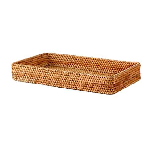 SKREOJF Rattan Woven Storage Fruit Basket Cestas de Mimbre Pan Decorativo Fruta Futano Caja Discoteca Organizador Decoración del hogar (Size : Medium)