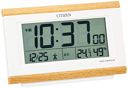 CITIZEN シチズン 目覚まし時計 電波 デジタル 温度 湿度 カレンダー 薄茶 8.9x13.5x4.4cm 8RZ161-007
