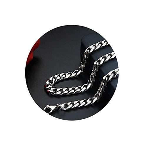 Epinki Acero Inoxidable Cadena Collar para Hombre Plata Figaro Cadena Moda Grueso Collar