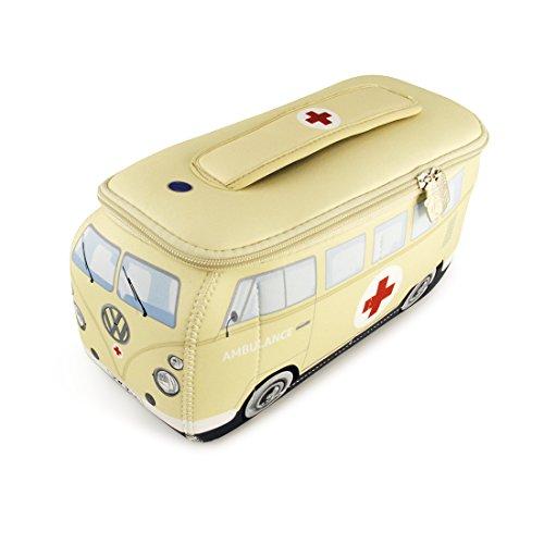 BRISA VW Collection - Volkswagen Furgoneta Hippie Bus T1 Van Bolsa Universal de Neopreno, Neceser, Bolso de Maquillaje-Cosméticos-Aseo, Estuche de lápices, Caja de almuerzo, Equipaje (Ambulance/Beige)