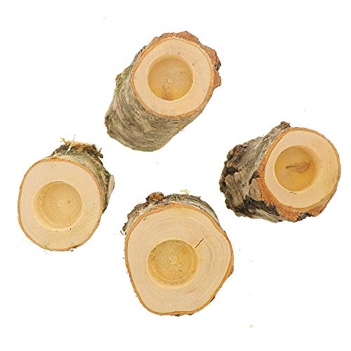 4X HOFMEISTER® Teelichthalter aus Birken-Holz, großer Kerzenhalter im Birken-Baumstamm, 15 x 8 x 8 cm