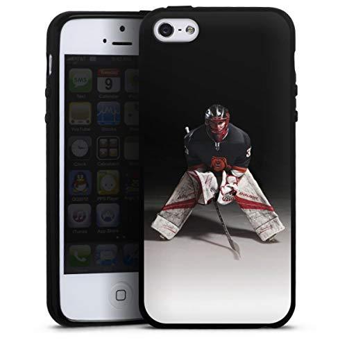 DeinDesign Silikon Hülle kompatibel mit Apple iPhone SE (2016-2019) Case schwarz Handyhülle Eishockey Sport Hobby