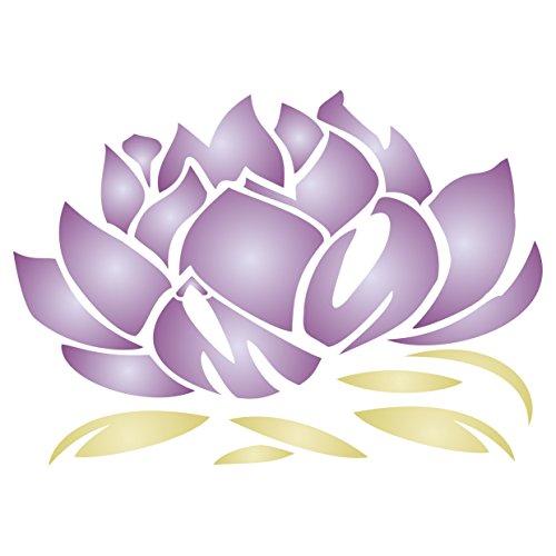 Plantilla reutilizable para pared, diseño de flor de loto oriental asiática de Lotus Blossom - 10 x 7cm - XXS