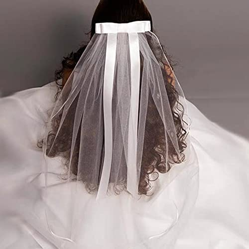 XKMY Child Girl First Communion Veil Tulle Bow with Comb Applique Wedding Flower Girl Veil (Color : White)