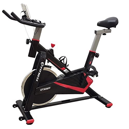FFitness Spinning Bike Indoor con Volano 15kg, Cinghia in Velcro e Porta Smartphone, Cardiofrequenzimetro | Allenamento in Casa