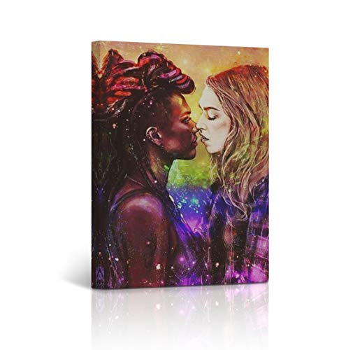 Buy4Wall Kissing Girls Canvas Print Lesbian Wall Art LGBT in Colors Sexy Wall Art Decorative Decor Artwork Stretched and Framed - Ready to Hang -%100 Handmade in The USA - 12x8