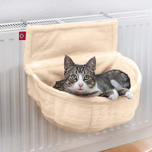 CanadianCat Company ® | Katzen Kuschelsack für Heizkörper | Creme | Liegemulde mit verstellbaren Bügeln