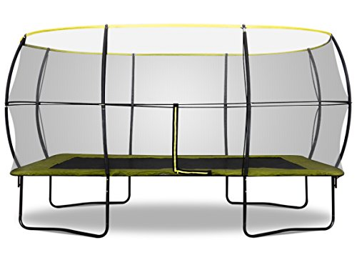 Rebo 10 X 14FT Rectangular Base Jump 2 Trampoline With Halo II Enclosure