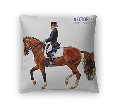 Gear New Throw Pillow Accent Decor, Equestrian Sport Horsewoman Jockey In Uniform Riding Horse Outdoors Dressage, 6601603GN