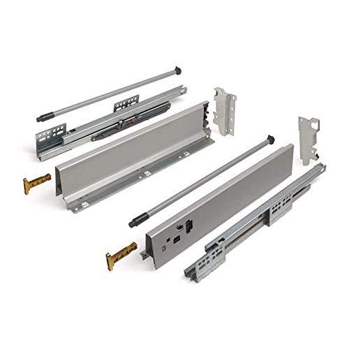 SOTECH Schubkastensystem SO-BOX grau Höhe: 135 mm mit Reling Tiefe: 500 mm Schubladensystem belastbar bis 40 Kg Soft-Close